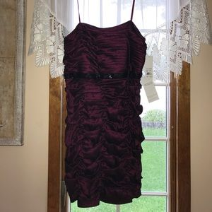 Brand new plum dress with black sequins